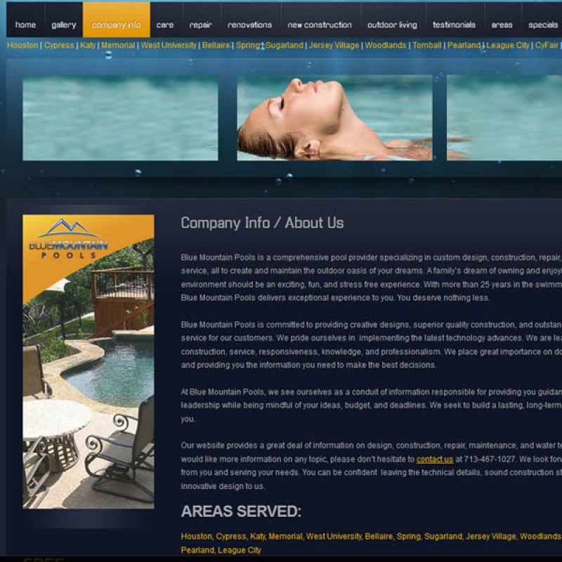 Blue Mountain Pools Website